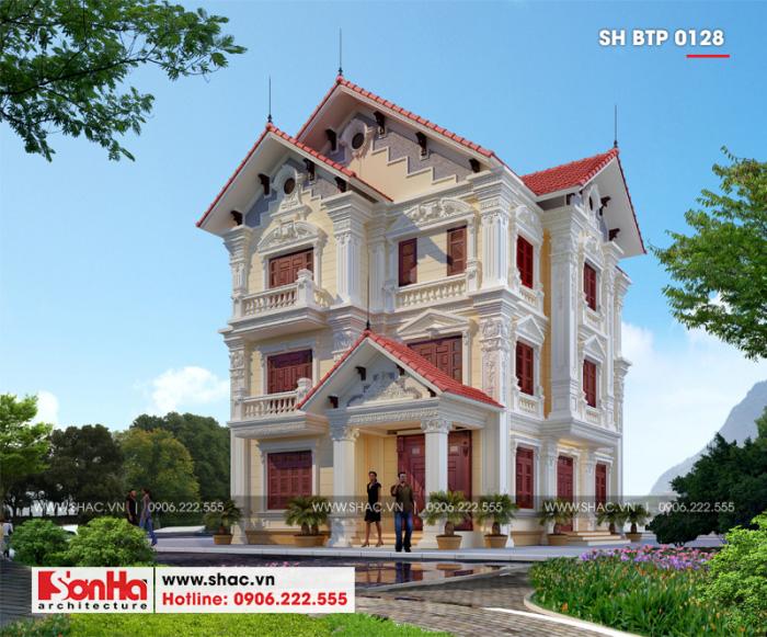 Mẫu biệt thự vườn đẹp phong cách tân cổ điển 3 tầng tại Bắc Ninh