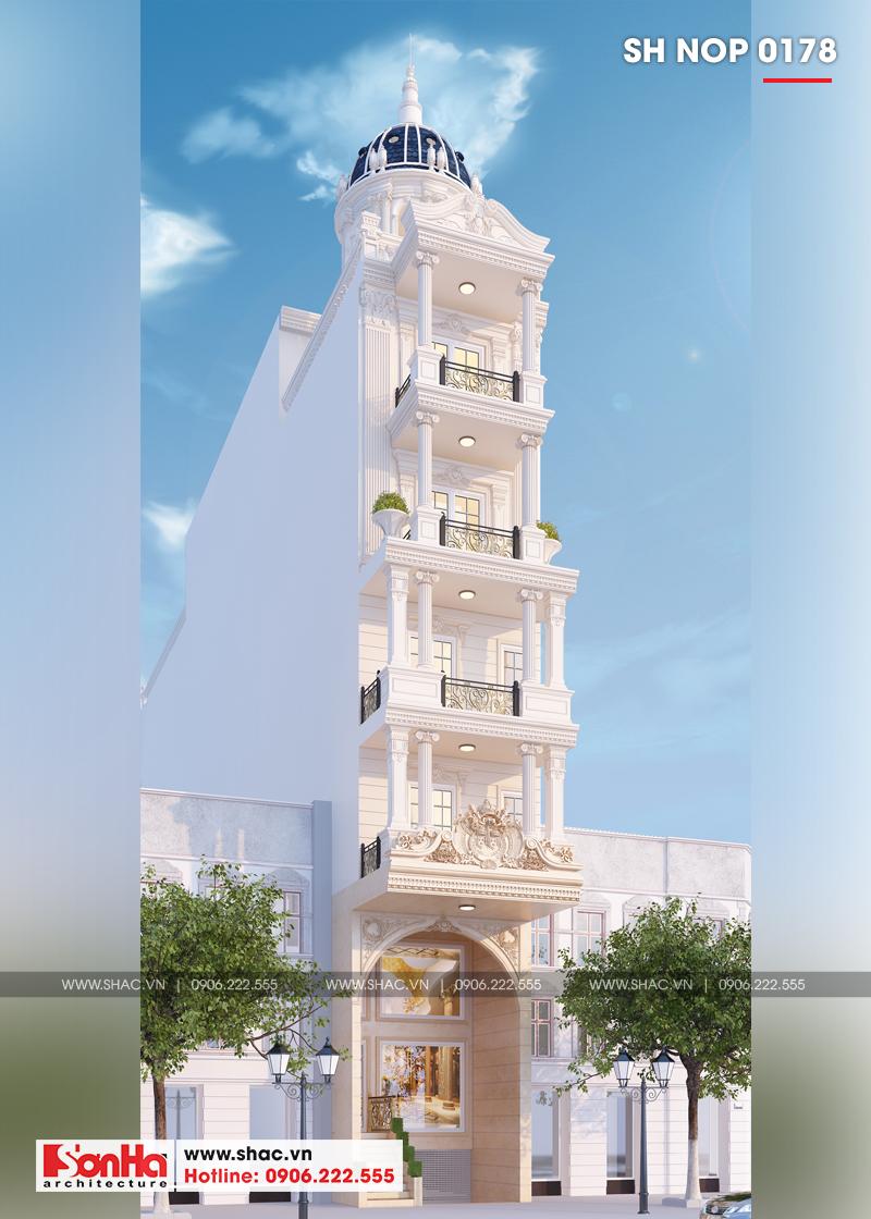 Mẫu thiết kế nhà ống cổ điển 5 tầng mặt tiền 4m8 tại Sài Gòn – SH NOP 0178 2