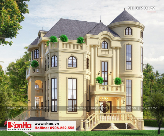 Thiết kế ấn tượng và có chuyên của ngôi biệt thự 4 tầng tân cổ điển mái chóp