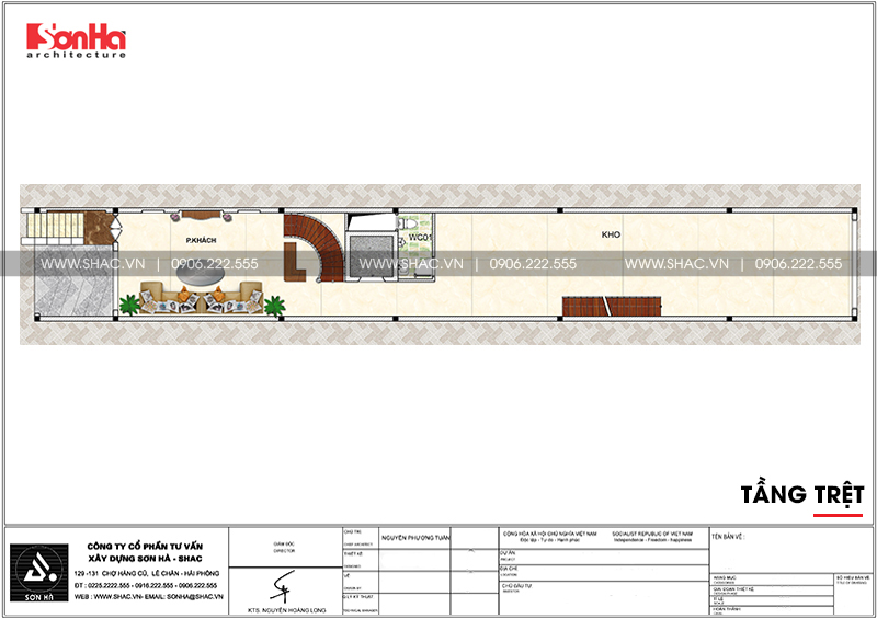 Mẫu thiết kế nhà ống cổ điển 5 tầng mặt tiền 4m8 tại Sài Gòn – SH NOP 0178 4