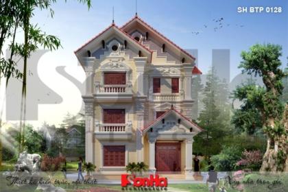 BÌA thiết kế biệt thự tân cổ điển 3 tầng mặt tiền 10m tại bắc ninh sh btp 0128