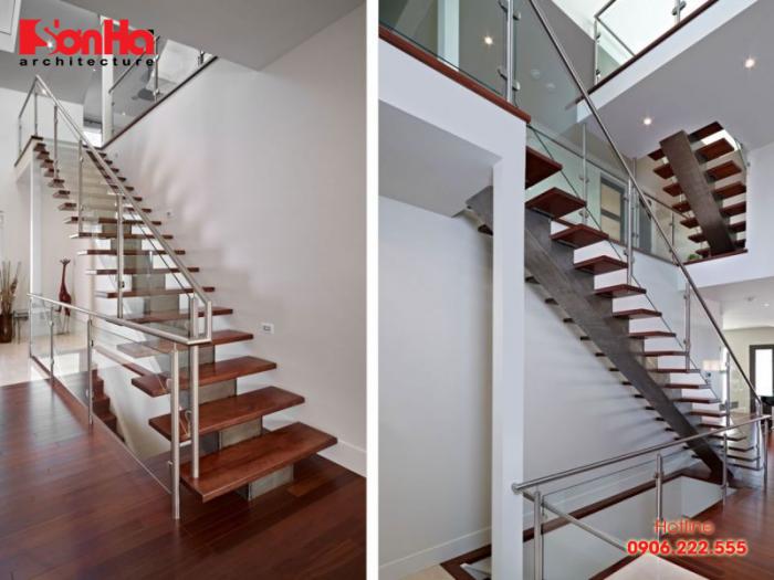 Cầu thang nhà ống đẹp với sàn gỗ công nghiệp màu sắc tinh tế