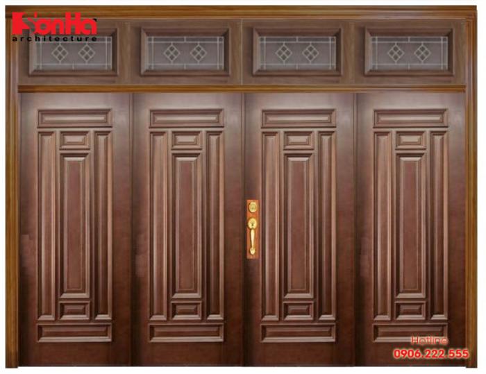Cửa gỗ tự nhiên là chất liệu phổ biến nhất từ xưa đến nay trong biệt thự nhà đẹp