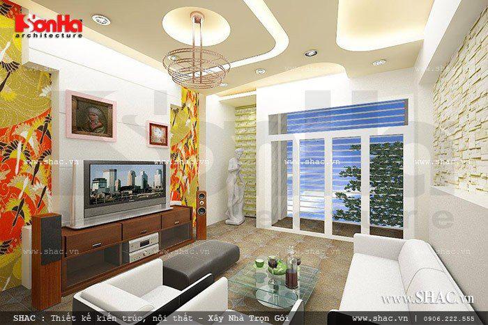 Không gian phòng khách hiện đại cho nhà phố diện tích hẹp với điểm nhấn đẹp