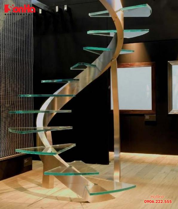 Mẫu cầu thang mang tính chuyển tiếp và phù hợp với thiết kế nội thất tương lai