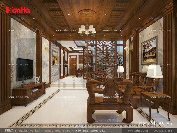 Mẫu phòng khách nhà ống cổ điển và tân cổ điển với điểm nhấn ấn tượng