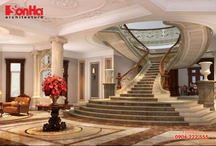 Mẫu thiết kế cầu thang đẹp cho biệt thự phong cách cổ điển Pháp