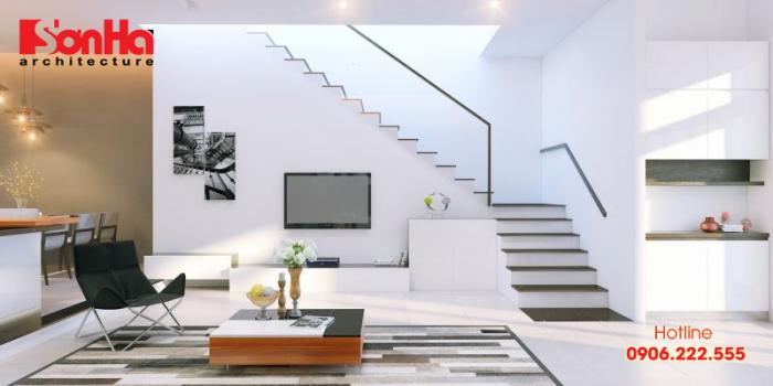 Mẫu thiết kế cầu thang không tay vịn cho nhà phong cách hiện đại