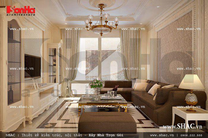 Mẫu thiết kế nội thất phòng khách nhà ống với điểm nhấn được tạo khéo léo
