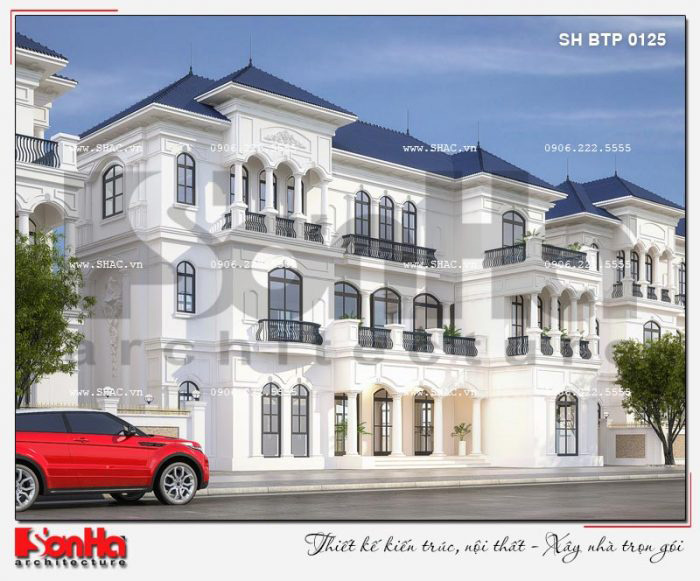 Nhà biệt thự mái thái 3 tầng phong cách tân cổ điển giản dị nhưng đẹp mắt