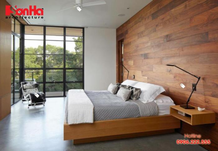 Phòng ngủ phong cách hiện đại đẹp với trang trí vật liệu gỗ