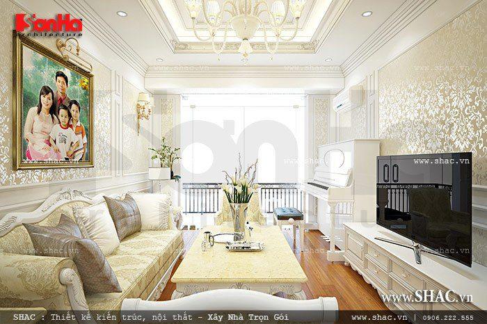 Phương án thiết kế phòng khách nhà ống cổ điển diện tích hẹp