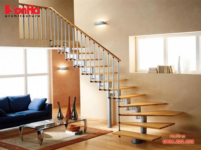 Thiết kế cầu thang gỗ đẹp cho nhà ống phong cách hiện đại