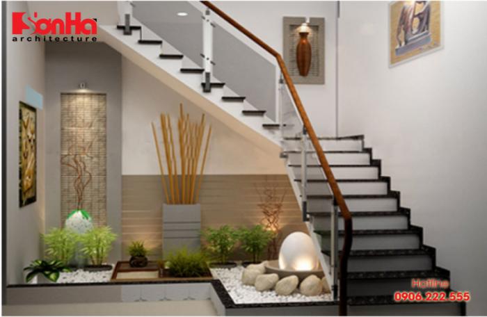 Thiết kế cầu thang nhà ống đẹp với tiểu cảnh bố trí gầm cầu thang