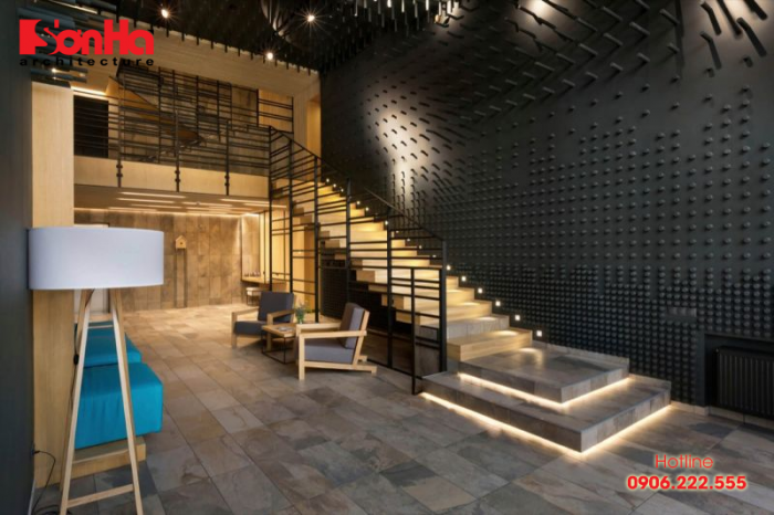 Thiết kế nội thất phòng khách kiểu công nghiệp với mẫu thang đẹp