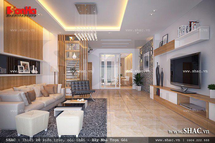 Thiết kế phòng khách hiện đại cho nhà ống sang trọng với vật liệu cao cấp