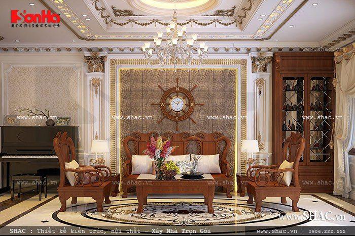 Thiết kế phòng khách nhà ống kiểu Pháp mang đến cảm giác ấm cúng