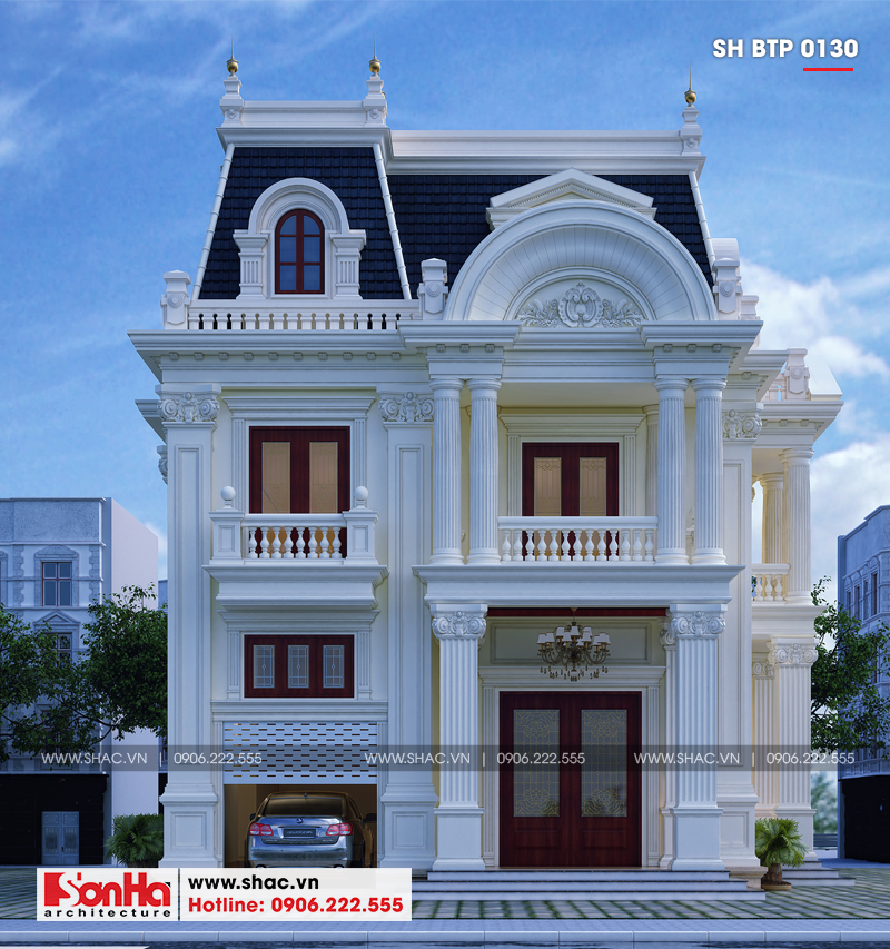 Thêm phương án thiết kế biệt thự mini 2 tầng phong cách tân cổ điển cho bạn chọn