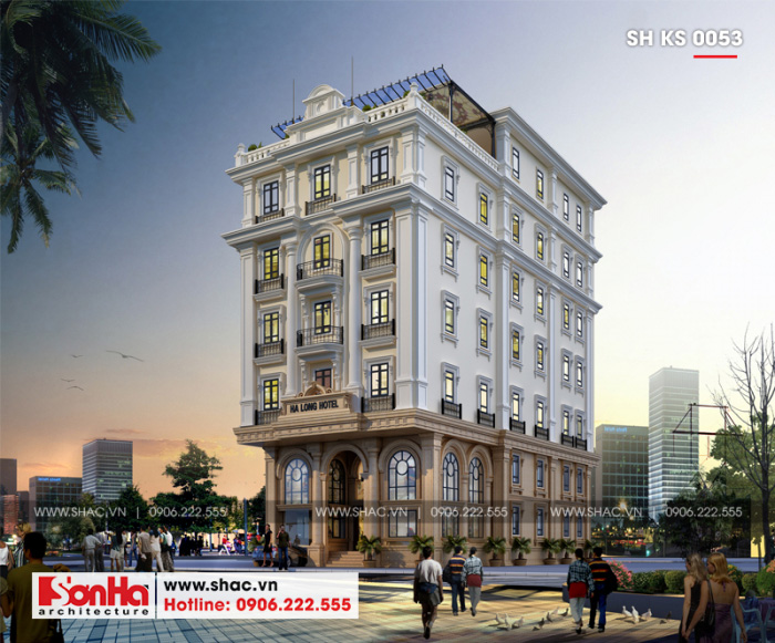 1 Thiết kế kiến trúc khách sạn tân cổ điển 3 sao tại quảng ninh sh ks 0053