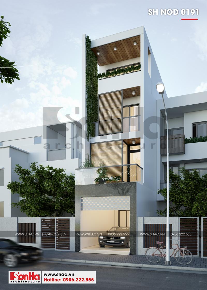Mẫu thiết kế nhà phố hiện đại tại Hải Phòng với bố trí sân thượng ngập sắc xanh