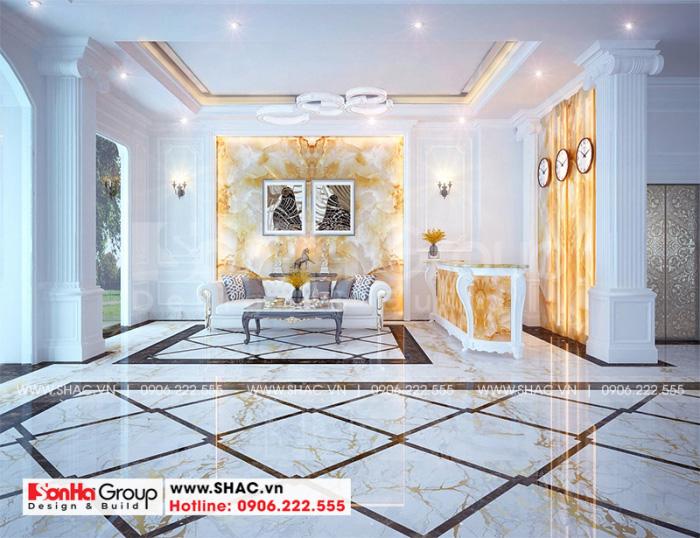Thiết kế nội thất sảnh lễ tân khách sạn mini 2 tầng phong cách tân cổ điển