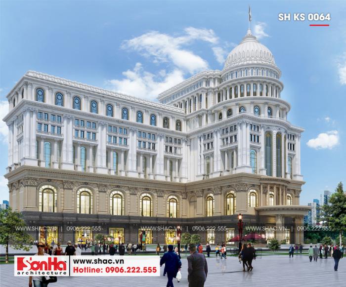 1 Thiết kế trung tâm phức hợp thương mại khách sạn 5 sao đẹp tại đồng nai sh ks 0064