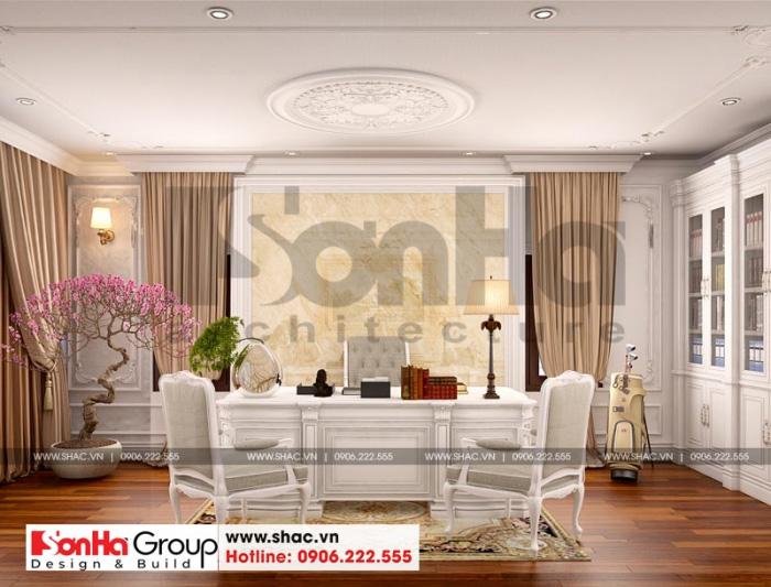 Thiết kế nội thất phòng làm việc tiện nghi cho biệt thự tân cổ điển 3 tầng