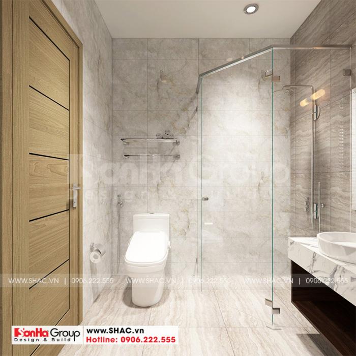 Phương án thiết kế phòng tắm và vệ sinh với bồn tắm đứng