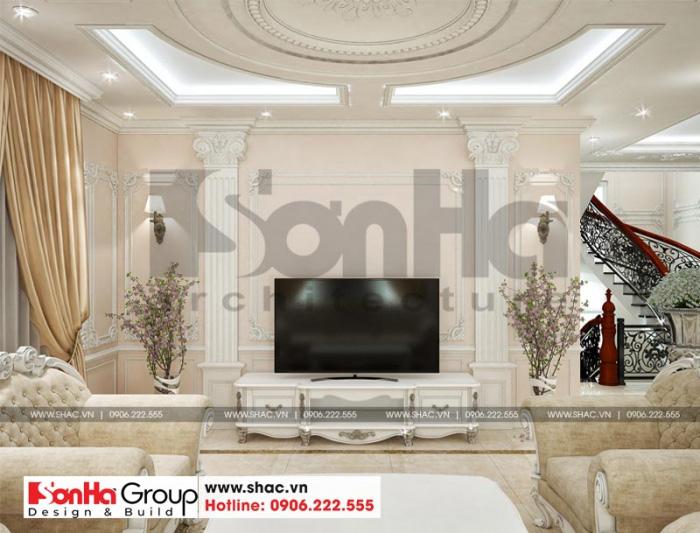 Không gian nội thất phòng sinh hoạt chung tại lầu 1 của ngôi biệt thự đẹp 3 tầng