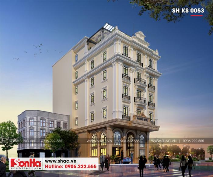 2 Thiết kế kiến trúc khách sạn tân cổ điển đẹp 3 sao tại quảng ninh sh ks 0053