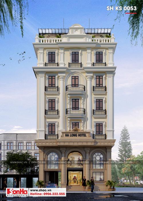 3 Mẫu kiến trúc khách sạn tân cổ điển 3 sao tại quảng ninh sh ks 0053