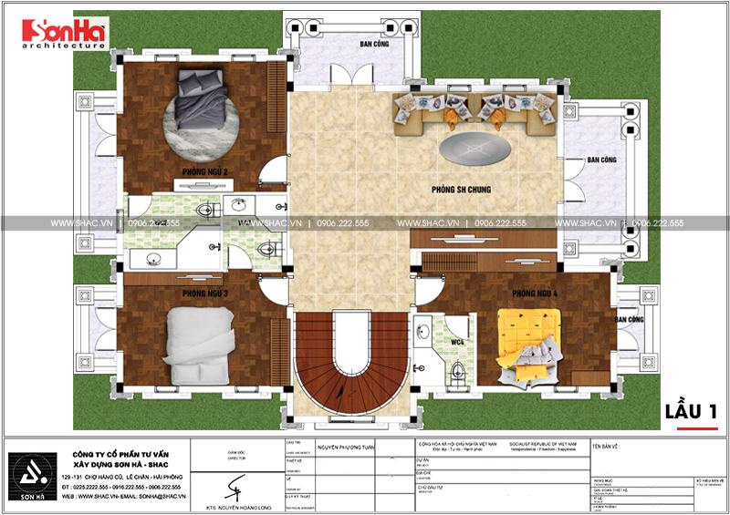 Biệt thự tân cổ điển 3 tầng 2 mặt tiền diện tích 11,9x15,5m tại Sài Gòn - SH BTP 0130 5