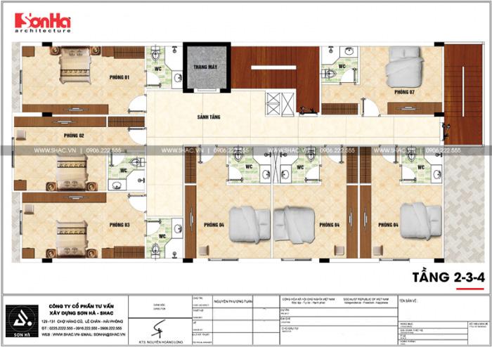 Bản vẽ chi tiết mặt bằng công năng tầng 2 đến tầng 4 khách sạn mini 2 sao diện tích 275m2 tại Phú Thọ