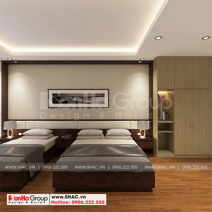Thiết kế nội thất phòng ngủ khách sạn tân cổ điển 2 sao