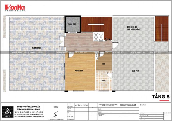 Bản vẽ chi tiết mặt bằng công năng tầng mái khách sạn