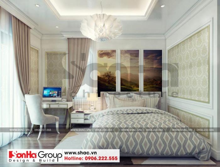 Phòng ngủ nhỏ xinh trong không gian nội thất biệt thự kiểu tân cổ điển