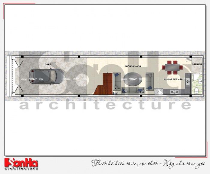 Bản vẽ mặt bằng công năng tầng 1 nhà ống 4 tầng kiểu Pháp dài 20m
