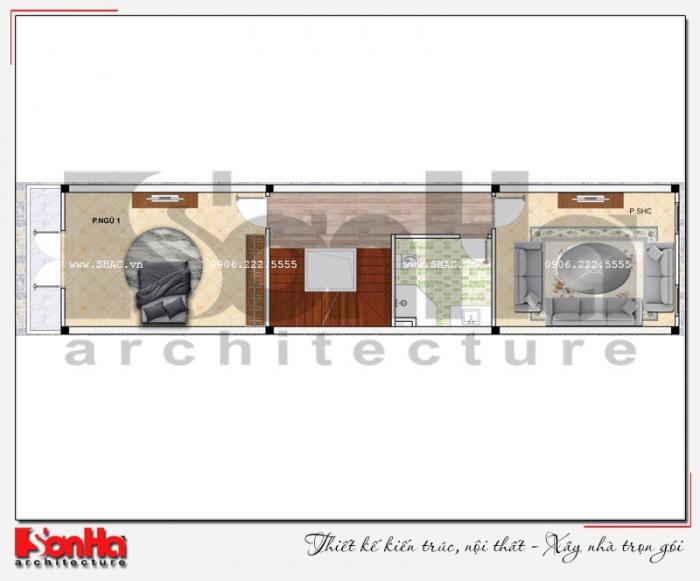 Bản vẽ mặt bằng công năng tầng 2 nhà ống 4 tầng kiểu Pháp dài 20m