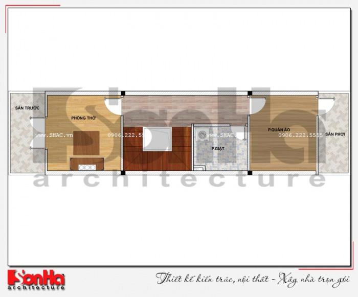 Bản vẽ mặt bằng công năng tầng 4 nhà ống 4 tầng kiểu Pháp dài 20m