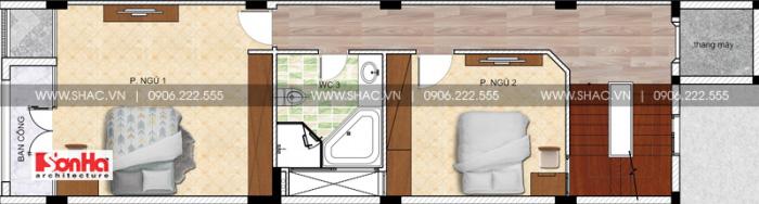 Bản vẽ thiết kế công năng tầng 2 nhà ống dài 20m diện tích 100m2 kiến trúc hiện đại