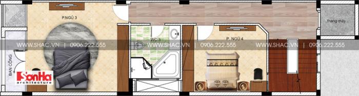 Bản vẽ thiết kế công năng tầng 3 nhà ống dài 20m diện tích 100m2 kiến trúc hiện đại