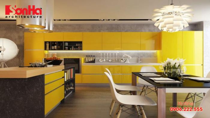 Cách thiết kế phòng bếp đẹp với gam màu vàng nghệ tây kết hợp màu sắc ấm áp