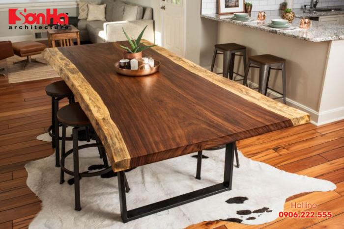 Lựa chọn bàn gỗ tái chế cho thiết kế nội thất bếp đẹp