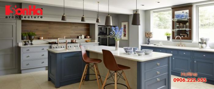 Mẫu thiết kế bếp hiện đại với cách đặt bếp được tính toản cẩn thận phong thủy