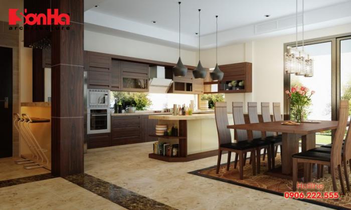 Mẫu thiết kế phòng bếp sử dụng màu sắc tự nhiên luôn hợp thời