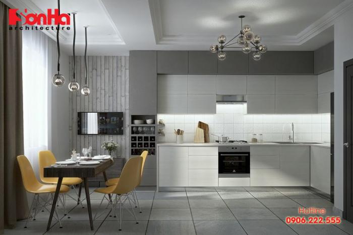 Một mẫu thiết kế phòng bếp đẹp đơn giản với tone màu tối và xám