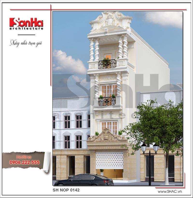 Ngôi biệt thự kiểu Pháp dài 20m rộng hơn 4m sở hữu mặt tiền tạo hình tinh tế