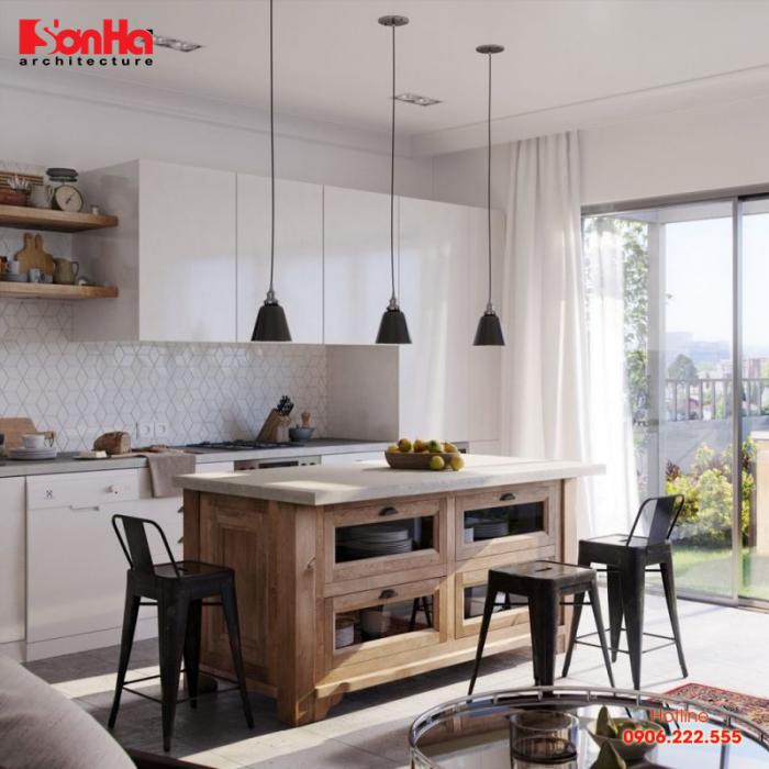 Nhà bếp đơn giản nhưng được thiết kế đẹp mắt nhờ kết hợp các vật dụng linh hoạt