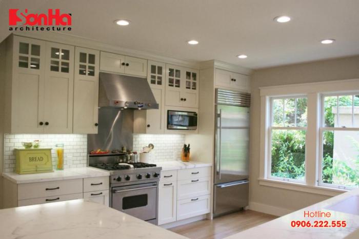Phòng bếp đẹp với sự kết hợp của các vật liệu nguyên bản tạo bố cục khoa học