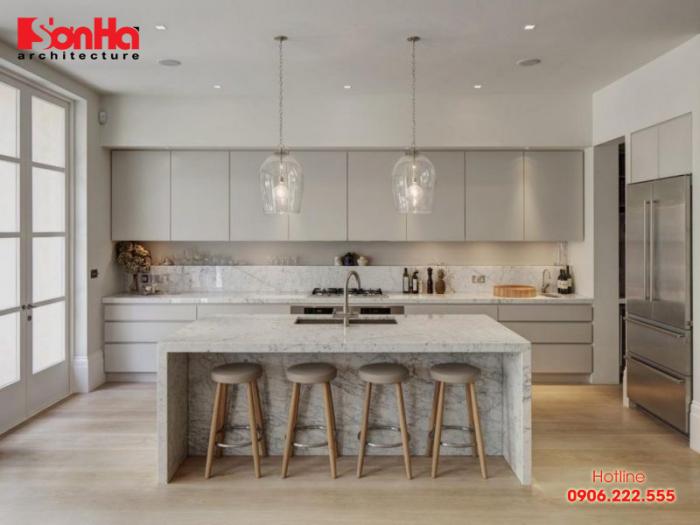 Thiết kế nội thất bếp đẹp với bàn bếp thạch anh màu sắc phù hợp